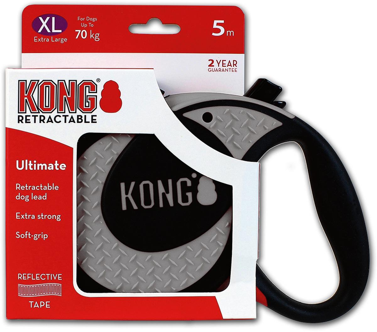 Поводок-рулетка для собак Kong Ultimate XL, цвет: серый, до 70 кг, 5 м
