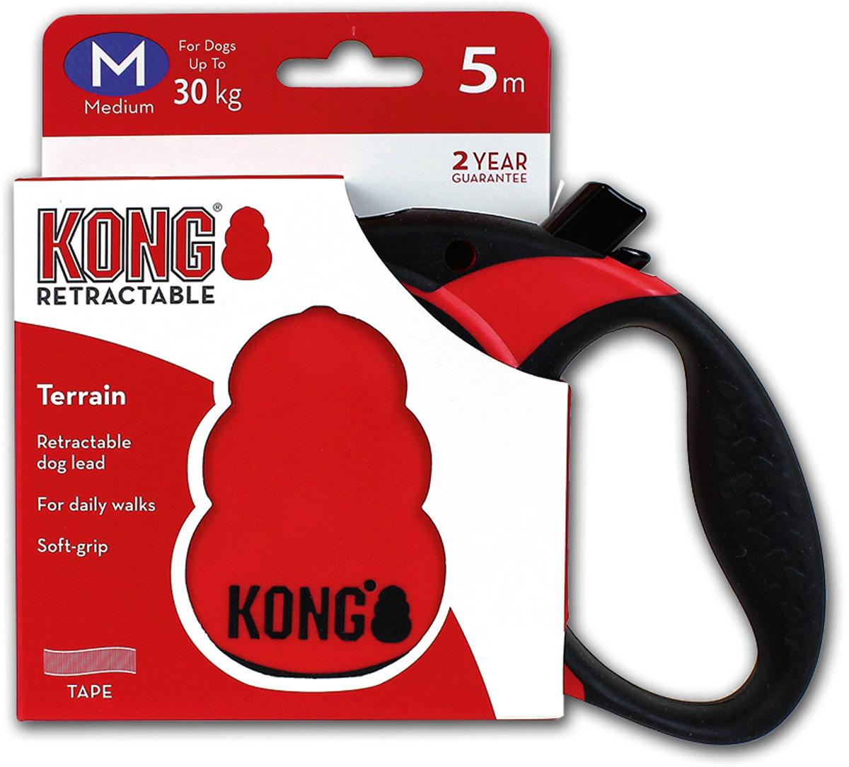Поводок-рулетка для собак Kong Terrain M, цвет: красный, до 30 кг, 5 м