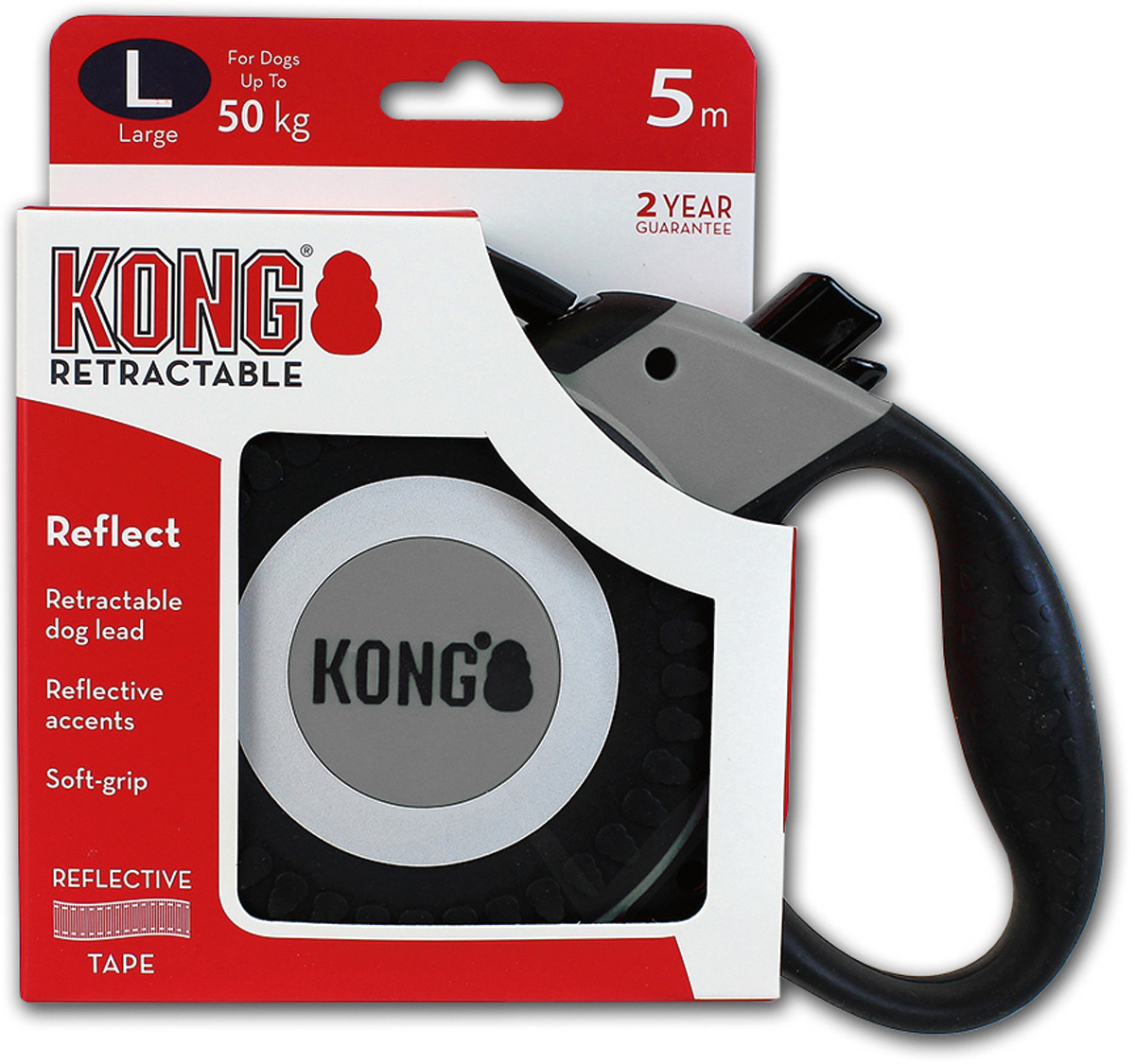 Поводок-рулетка для собак Kong Reflect L, цвет: серый, до 50 кг, 5 м
