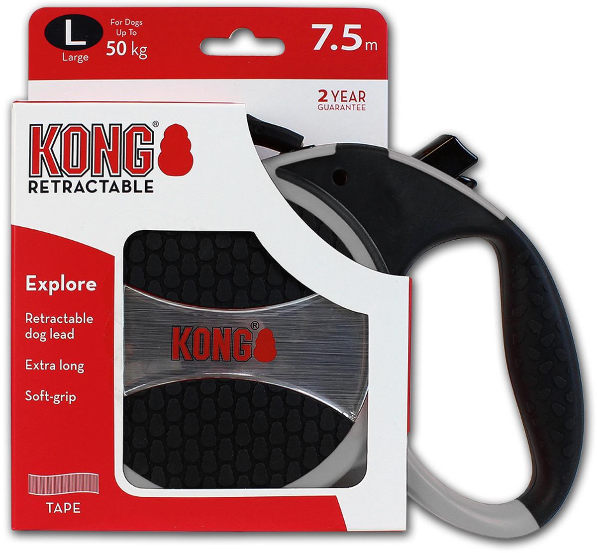 Поводок-рулетка для собак Kong Explore L, цвет: серый, до 50 кг, 7,5 м