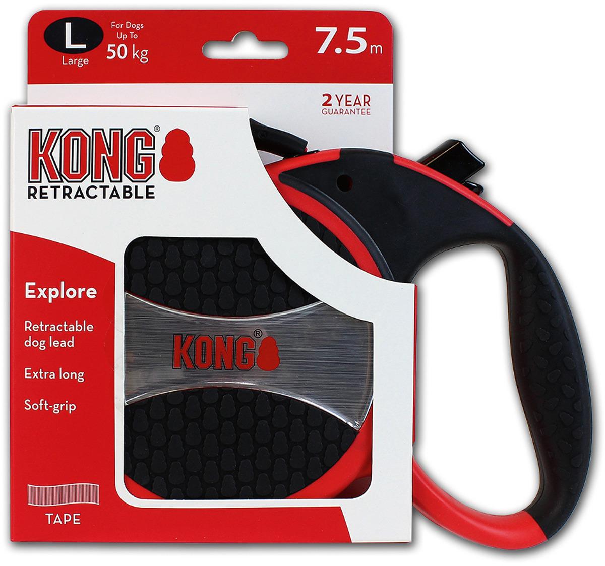 Поводок-рулетка для собак Kong Explore L, цвет: красный, до 50 кг, 7,5 м