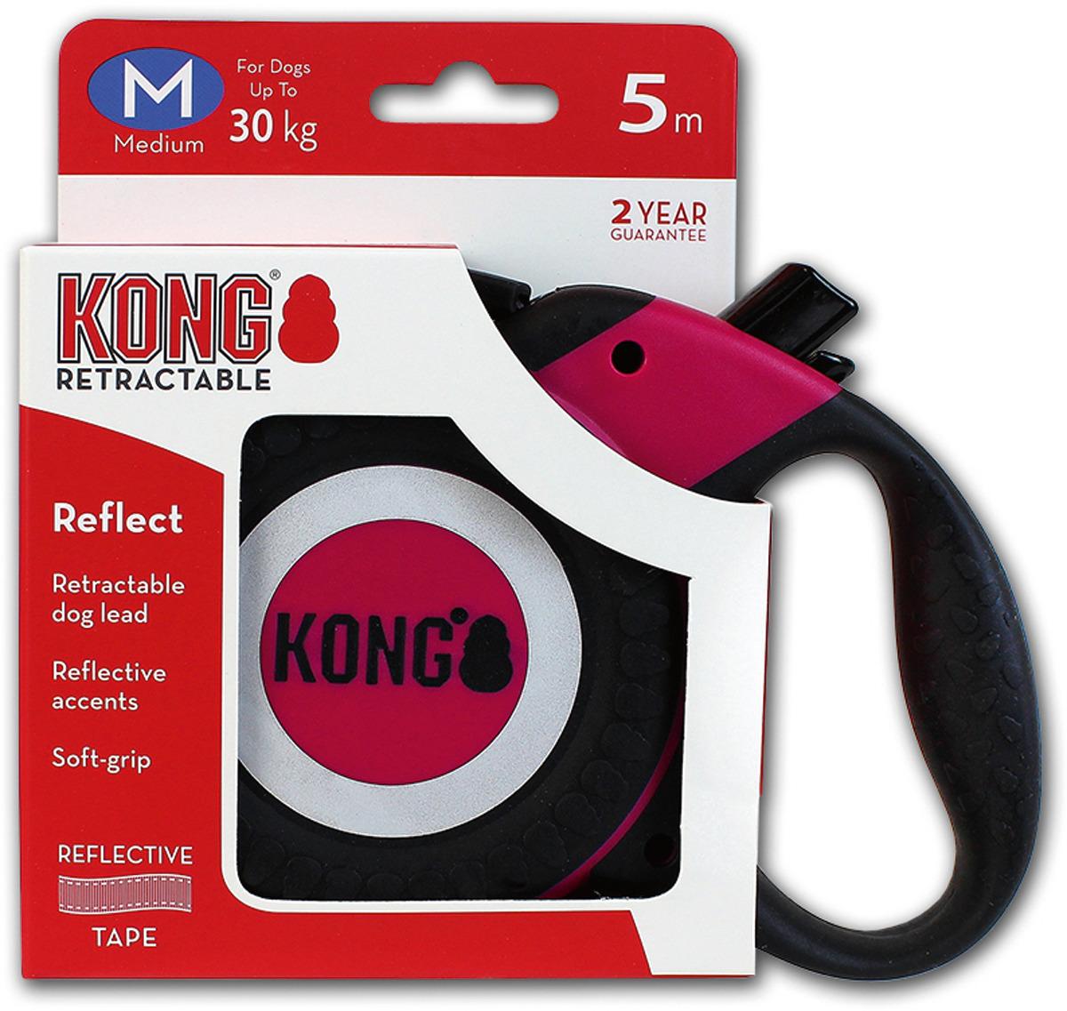 Поводок-рулетка для собак Kong Reflect M, цвет: фуксия, до 30 кг, 5 м