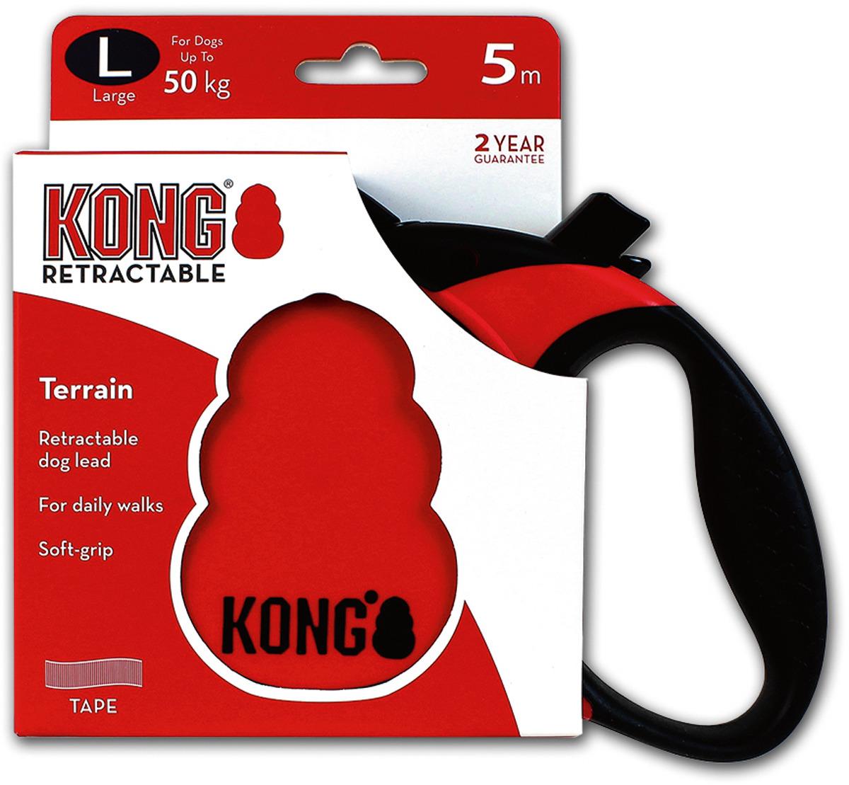 Поводок-рулетка для собак Kong Terrain L, цвет: красный, до 50 кг, 5 м