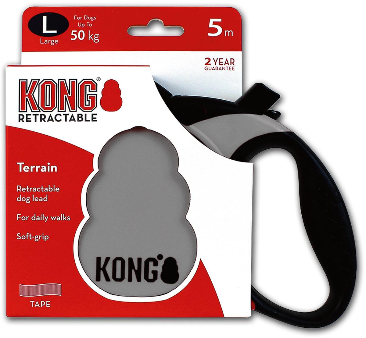 Поводок-рулетка для собак Kong Terrain L, цвет: серый, до 50 кг, 5 м