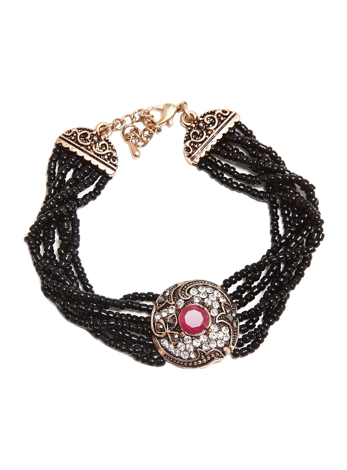 Браслет Kameo-bis, BR610019, черныйBR610019Длина 18,5 + 3 см, ширина 1,8 см. Состав: кристаллы, стразы, ювелирный сплав