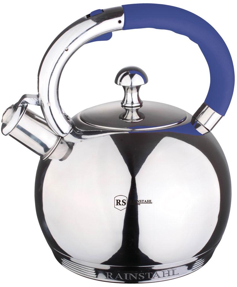Чайник Rainstahl металлический со свистком, цвет: синий, 3,0 л. 7601-30RS\WK чайник rainstahl со свистком цвет белый 3 л 7540 30rs wk