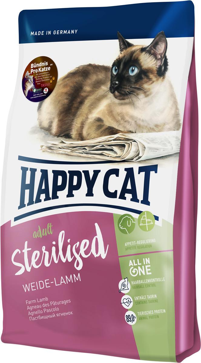Корм сухой Happy Cat Sterilised, для взрослых кошек, ягненок, 1,4 кг70349Happy Cat Sterilised Пастбищный ягненок разработан специально для кастрированных котов и стерилизованных кошек. Этот сытный и вкусный корм, богатый балластными веществами, содержит всего 10,5% жира и большое количество ценного белка животного происхождения из легко усваиваемого мяса лосося и вкусного мяса птицы.