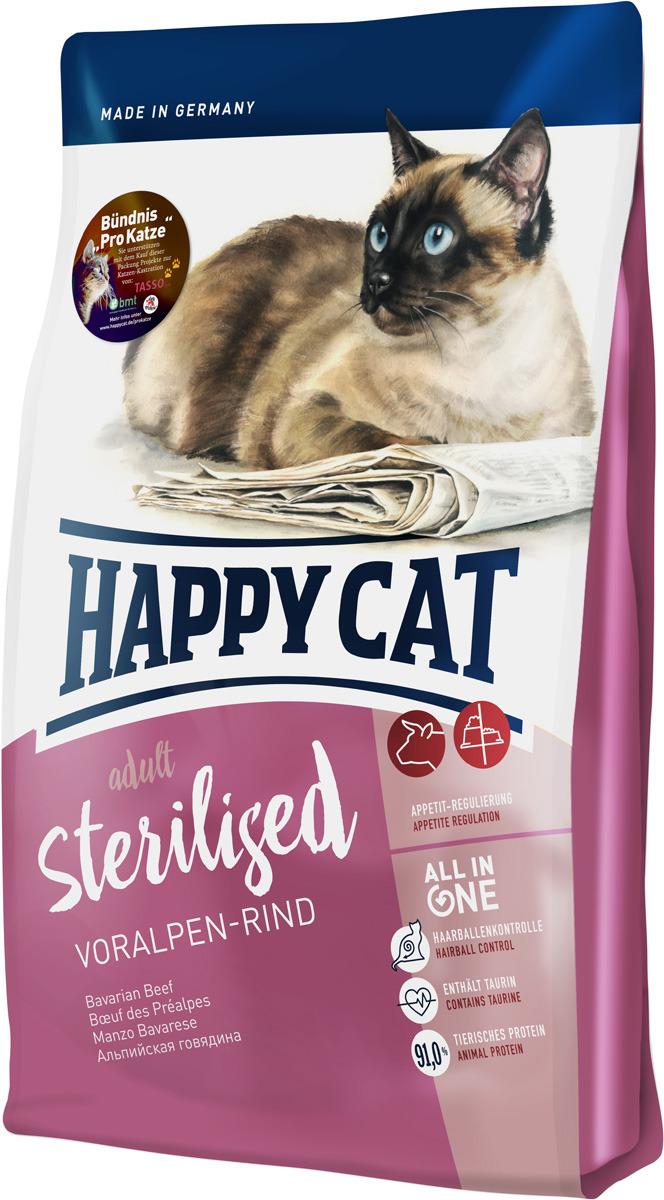 Корм сухой Happy Cat Sterilised, для взрослых кошек, альпийская говядина, 0,3 кг сухой корм happy cat adult indoor farm lamb пастбищный ягненок для взрослых домашних кошек 1 4кг 70206