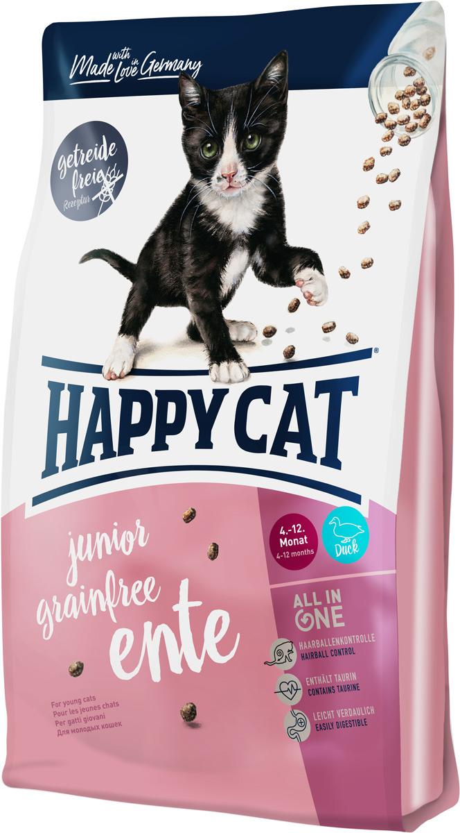 Корм сухой Happy Cat Junior Grainfree, для кошек, утка, 0,3 кг happy cat сухой беззерновой корм happy cat supreme junior grainfree ente для молодых кошек с уткой 1 4 кг