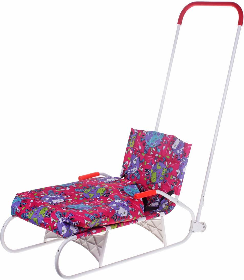 Санки Дэми, складные, с задним толкателем, колесами и карманом, цвет: розовый санки galaxy мишутка 5 с толкателем и спинкой красные