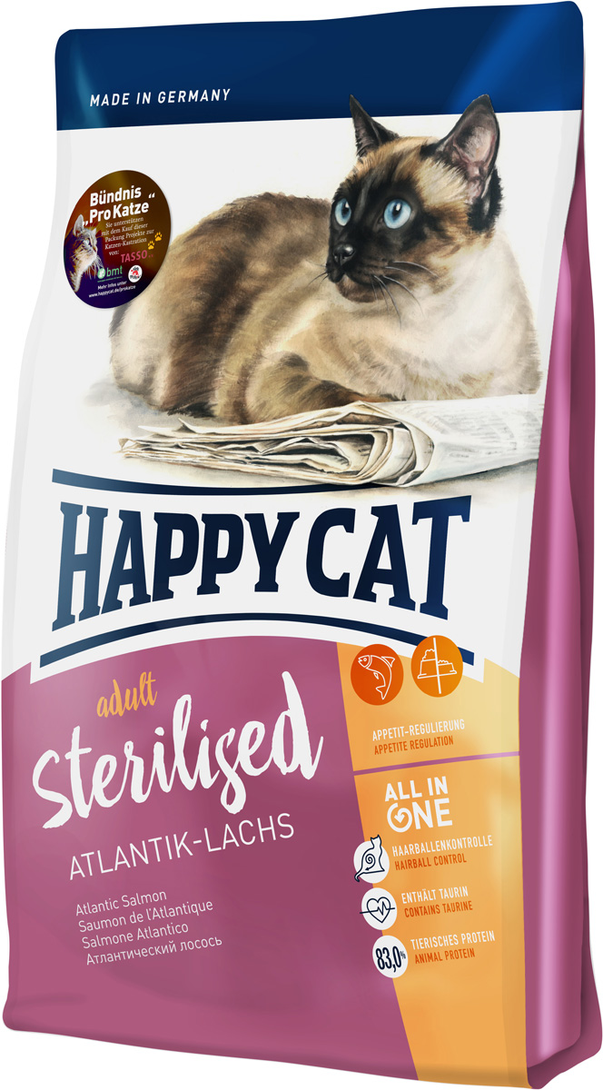 Корм сухой Happy Cat Sterilised, для взрослых кошек, атлантический лосось, 1,4 кг happy cat сухой корм премим класса happy cat minkas для взрослых кошек с птицей 4 кг
