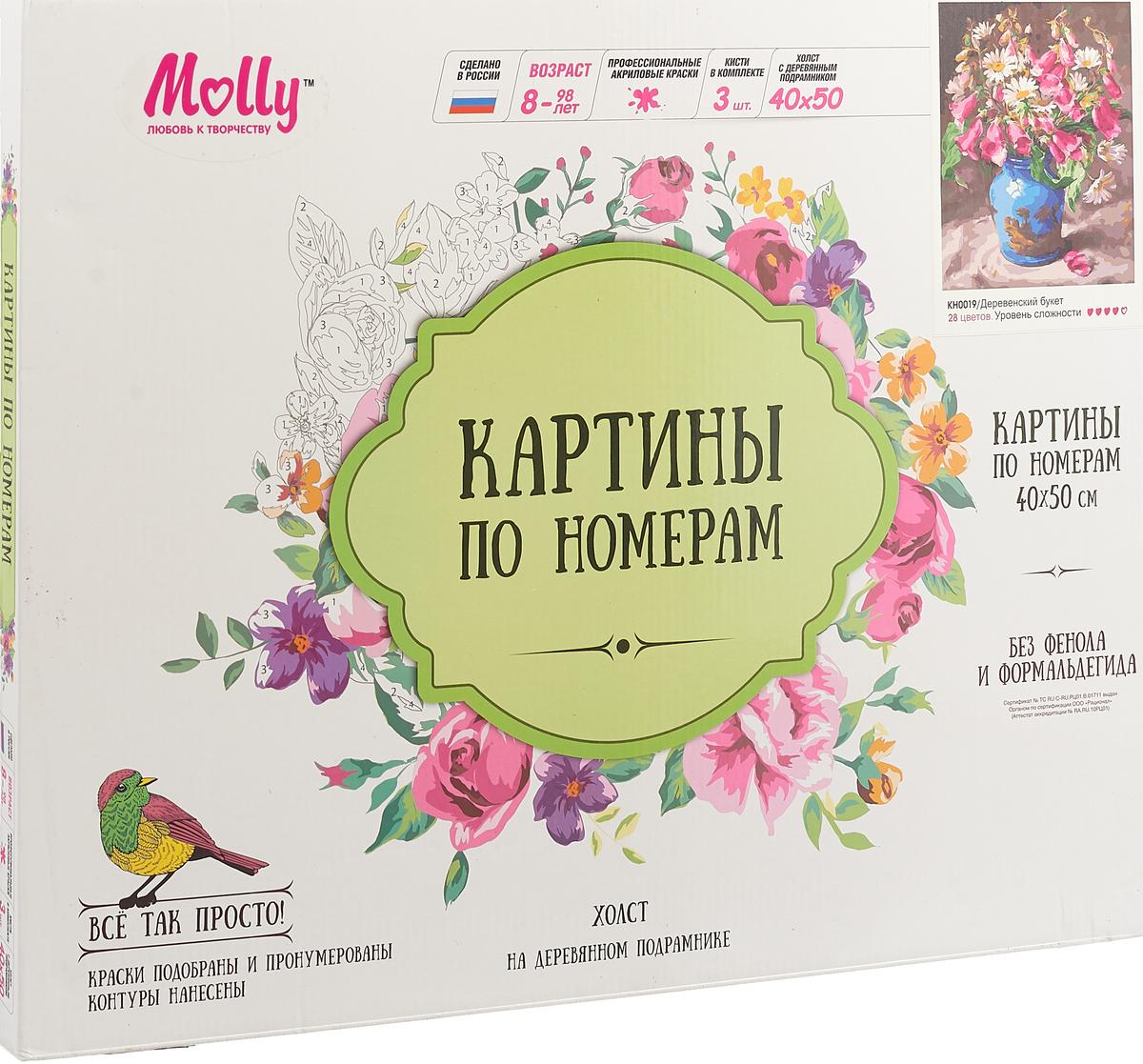 Набор для раскрашивания по номерам Molly Деревенский букет , 50 х 40 см набор для раскрашивания по номерам molly букет календулы 50 х 40 см