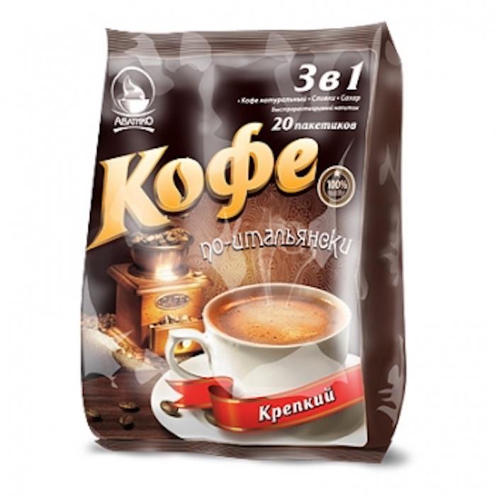 Кофе по-итальянски (напиток быстрорастворимый 3 в 1) крепкий