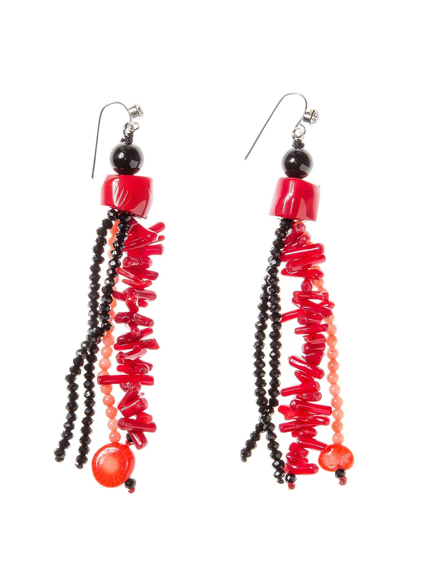 Серьги Kameo-bis ER809024, цвет: бордовый, черныйER809024Размер 9 х 1,2 см. Состав: коралл, черный оникс, кристаллы, стразы, сплав на основе латуни