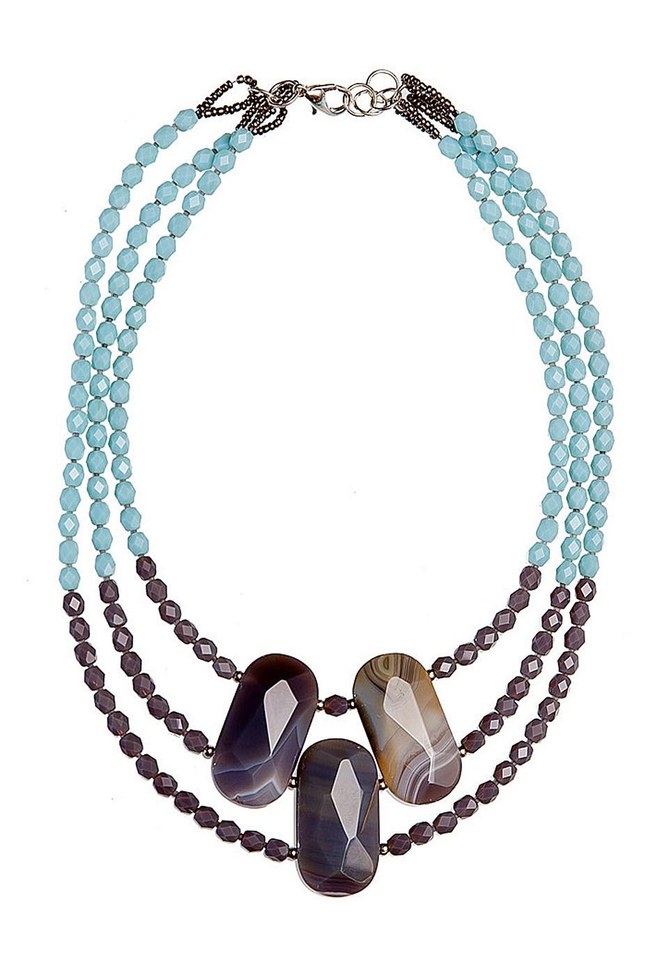 Колье Kameo-bis, цвет: коричневый, голубой. KNC609310KNC609310Длина 46 см, ширина 6 см. Состав: агаты, кристаллы, латунь