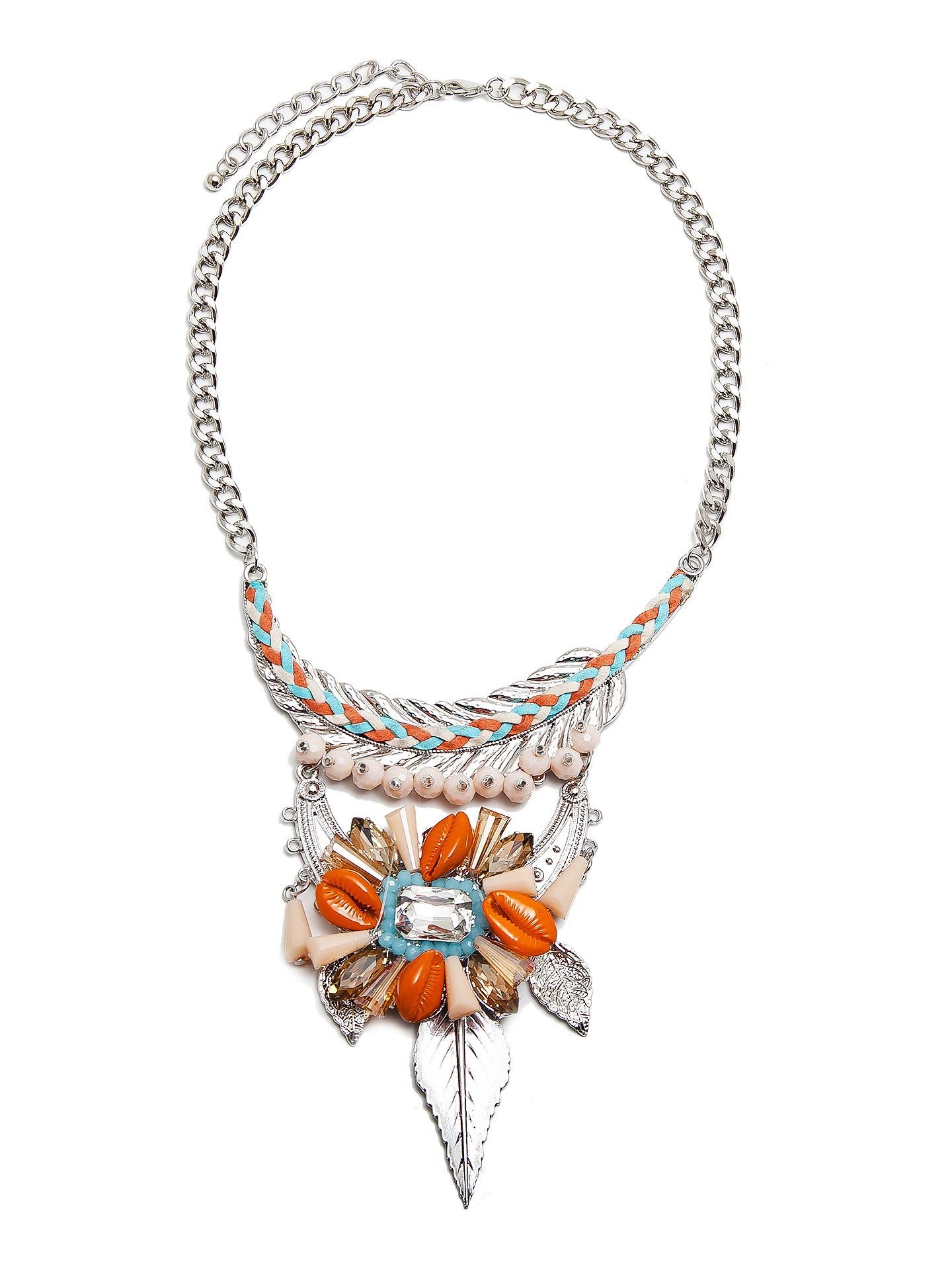 Колье Kameo-bis, цвет: серебряный, оранжевый, голубой. NC800065NC800065Размер 44+8 х 0,7 см, размер подвески 16 х 11 см Состав: кристаллы, металл, текстиль, сплав на основе латуни