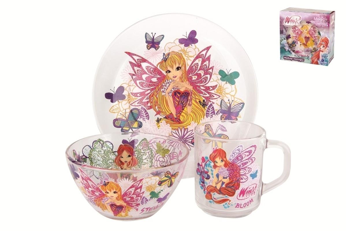 Набор детской посуды Коралл Winx, 3 предмета набор детской посуды маша и медведь фруктовая корзина 3 предмета