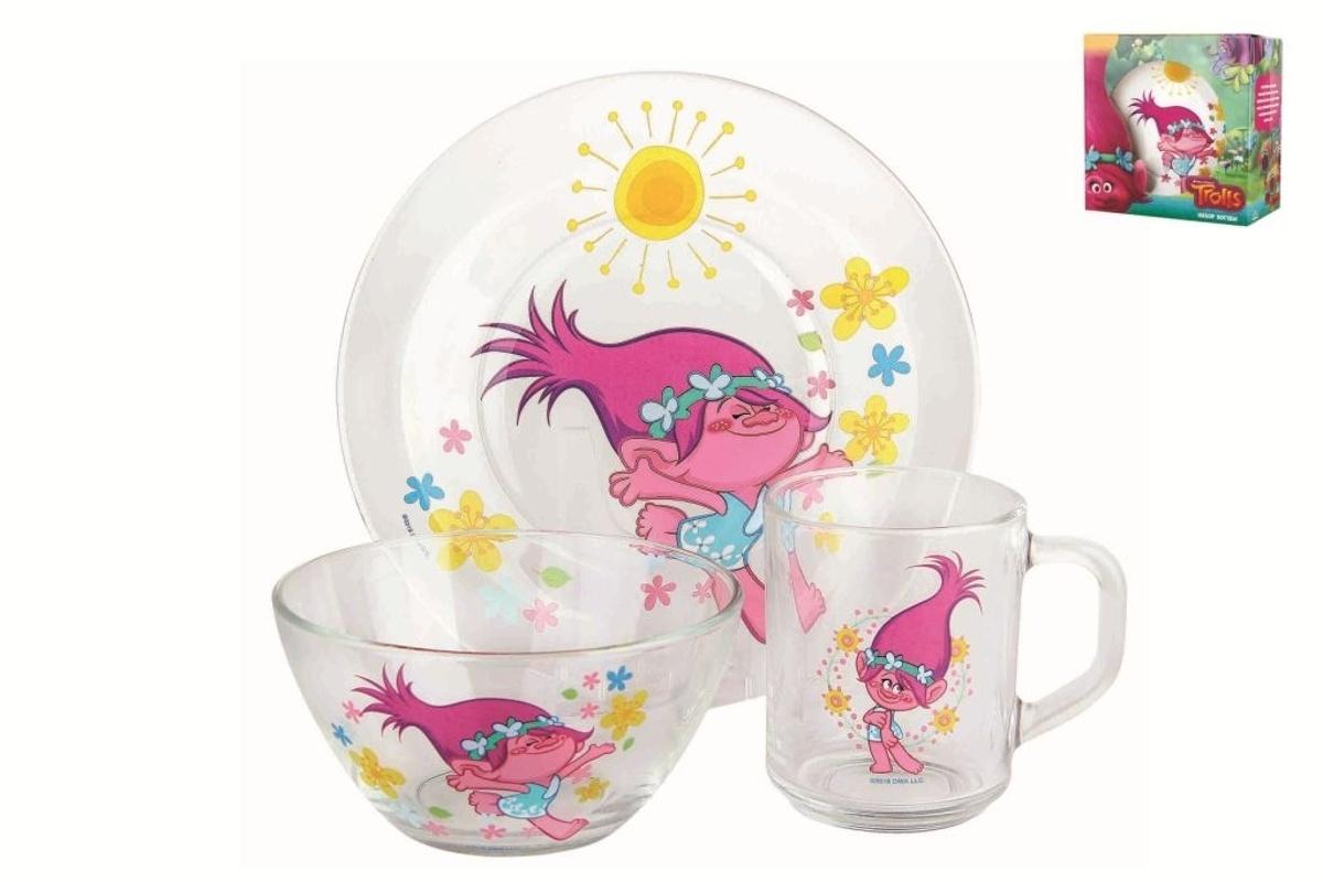 Набор детской посуды Коралл, 3 предмета. 964415 набор детской посуды маша и медведь фруктовая корзина 3 предмета