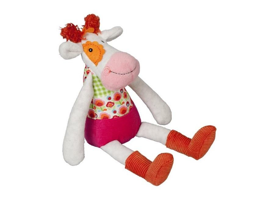 """Мягкая игрушка Ebulobo """"Коровка Молли"""", с погремушкой внутри, цвет:белый, 25 см. E31011"""