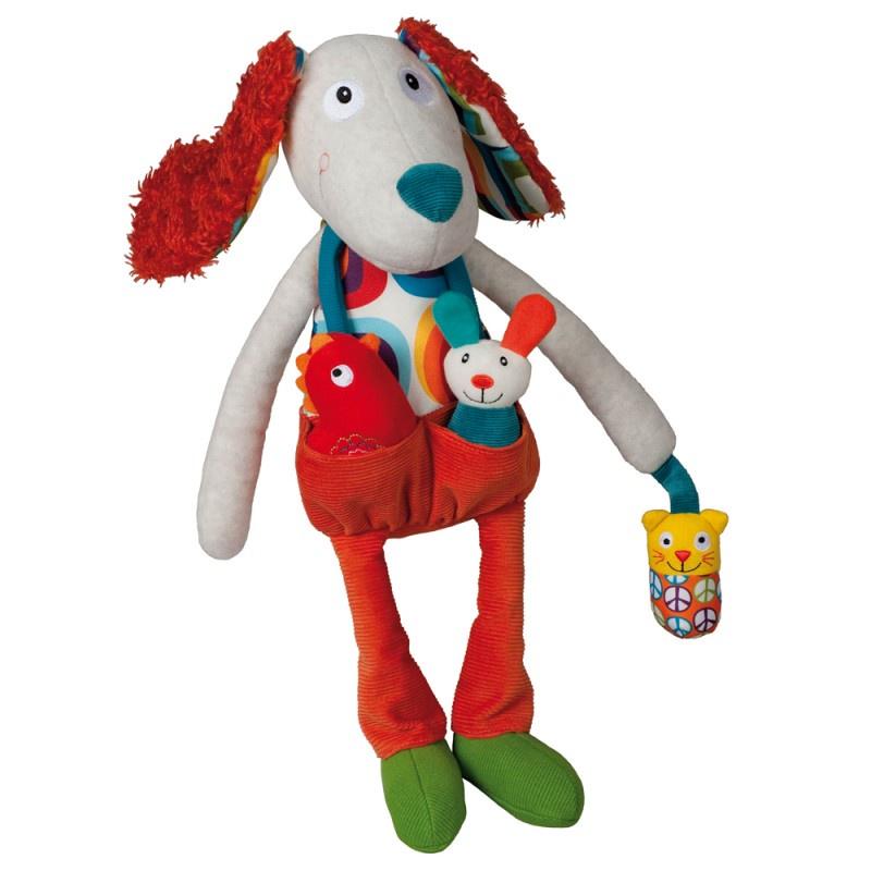 """Развивающая игрушка Ebulobo """"Пёсик Тони"""", цвет:серый, красный, 45 см. E30012"""