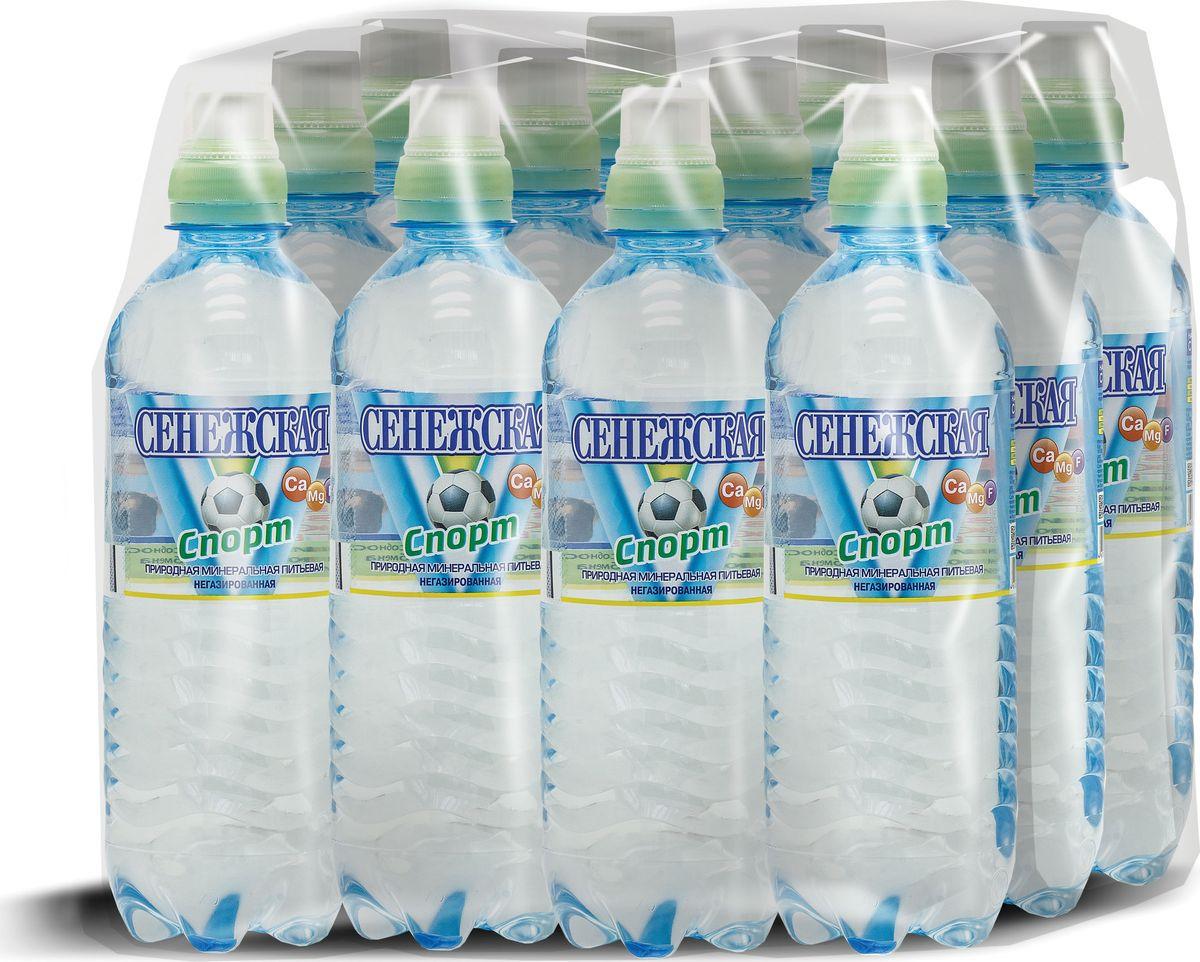 Вода негазированная Sport Сенежская, 12 шт по 0,5 л