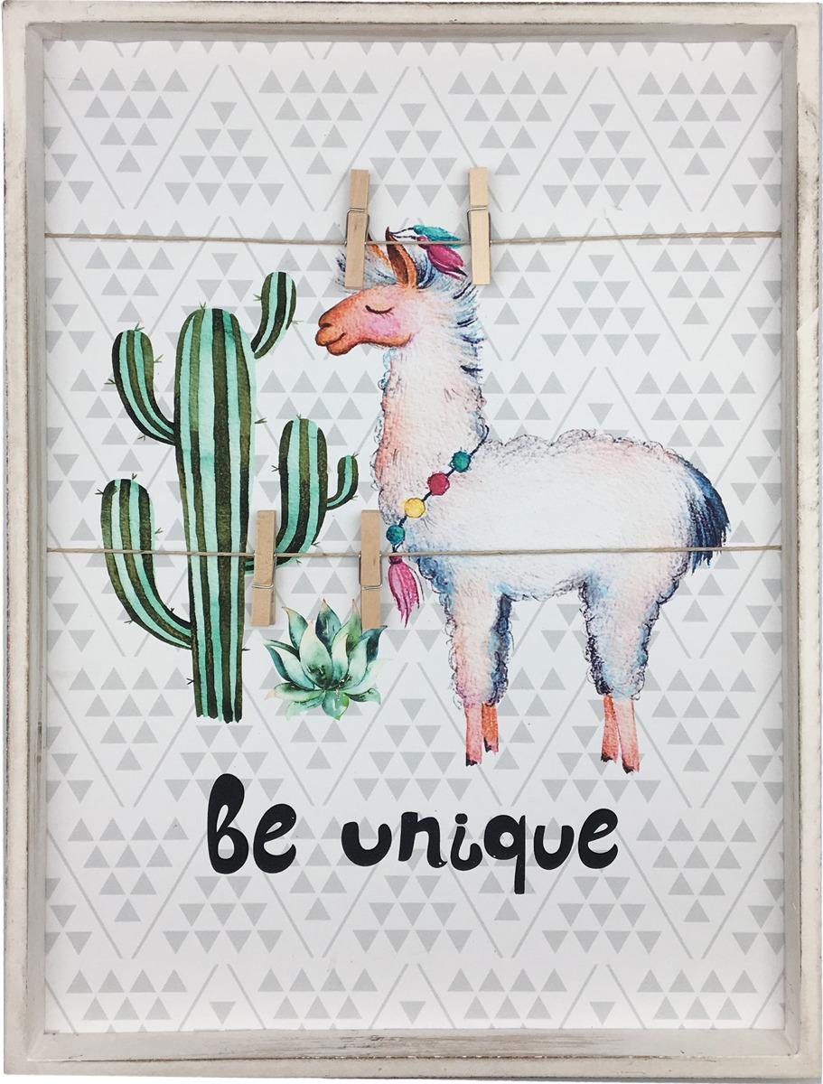 Декоративная картина You'll Love Альпака с кактусом, с зажимами, 40 x 30 x 3,5 см цена