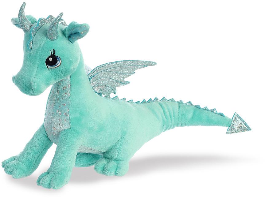 Игрушка мягкая Aurora Дракон, цвет: мятный, 30 см170619BОчаровательный плюшевый дракон от производителя Aurora. Дракон мятного цвета, у него очень добрые большие глаза, сияющие крылышки на спине, блестящие рожки и грудка. Рекомендуем!