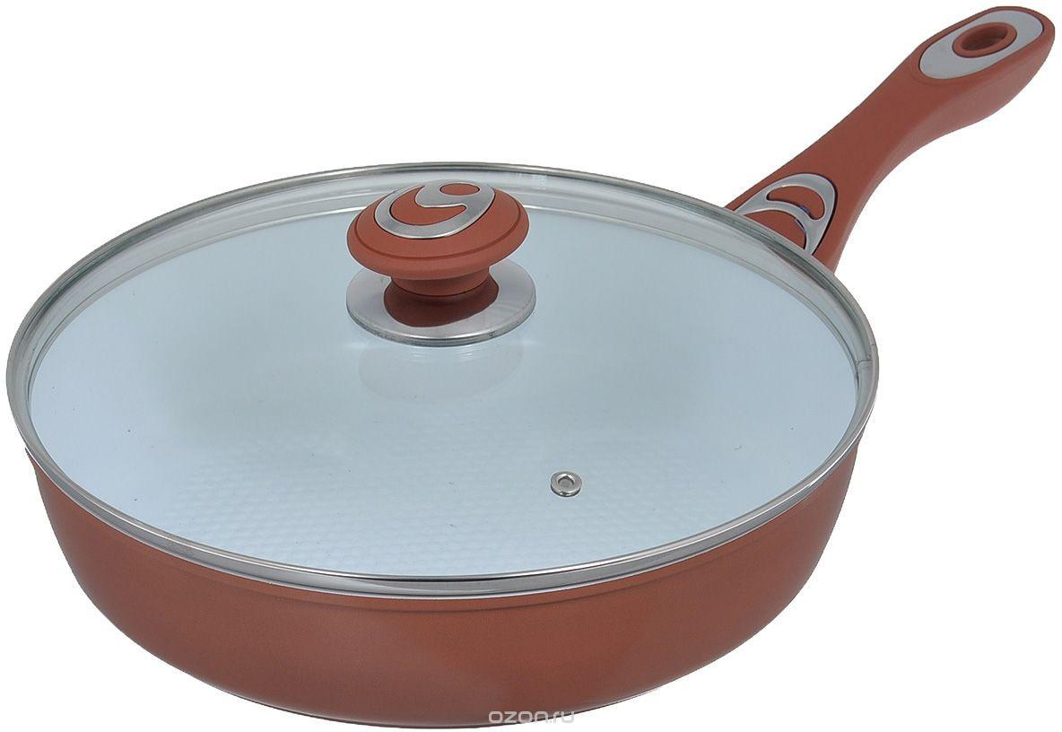 Сковорода Bohmann 7514BH, диаметр 24 см, керамическое покрытие, цвет: коричневый сковорода bohmann 372124вн серый диаметр 24 см