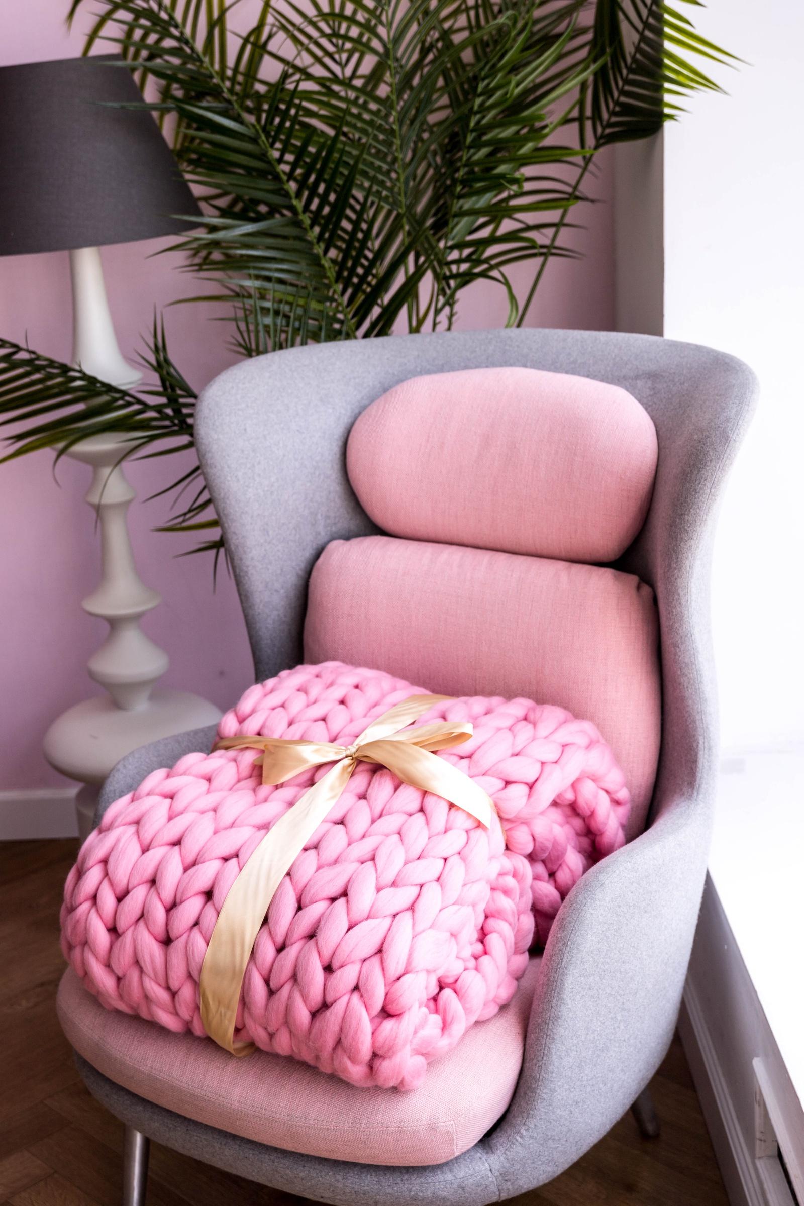 Плед Cloudlet, из гиперобъемной пряжи, цвет: светло-розовый плед cloudlet шерсть цвет светло розовый 100х150 см