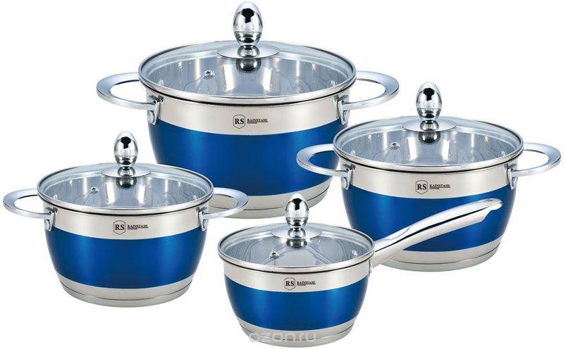 Набор посуды Rainstahl, 8 предметов, цвет: синий. 1818-08RS набор посуды hoffberg 17 предметов цвет белый 1729hff