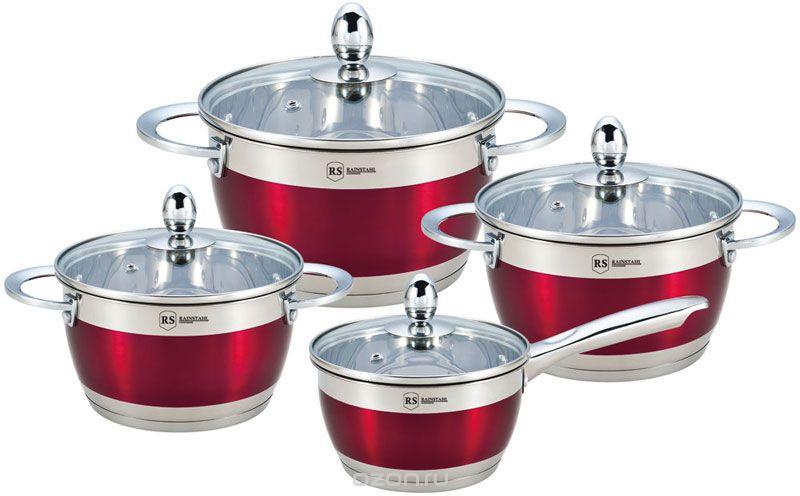 Набор посуды Rainstahl, 8 предметов, цвет: красный. 1818-08RS набор ножей rainstahl на подставке цвет красный серый 8 предметов