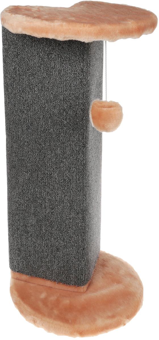 Когтеточка Меридиан, угловая, с игрушкой, цвет: светло-коричневый, серый 34 х 34 х 74 см домик когтеточка меридиан угловой с игрушками цвет светло серый 65 х 41 х 131 см