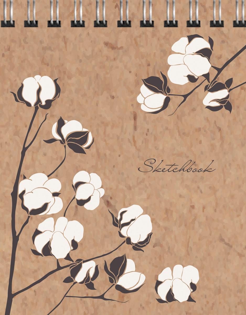 """Скетчбук Listoff """"Цветы хлопка"""", 80 листов, формат А6"""