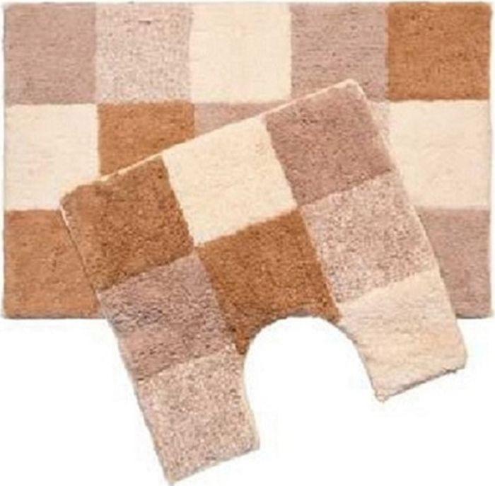 Набор ковриков для ванной Iddis Hopscotch, цвет: бежевый, 50 х 80 см, 50 х 50 см, 2 шт набор ковриков для ванной iddis beige landscape цвет бежевый 60 х 90 см 50 х 50 см 2 шт
