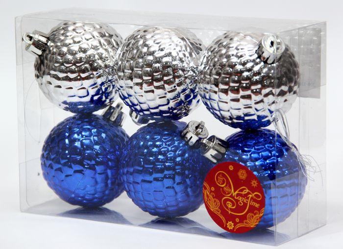 Новогоднее подвесное украшение Magic Time Ассорти. Шары, цвет: синий, серебряный, диаметр 6 см, 6 шт magic time новогоднее подвесн украш шар ассорти фиолетовое с золотым арт 35523 6 см набор 6 штук пластик