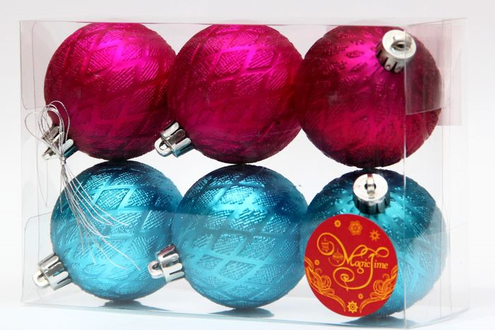 Новогоднее подвесное украшение Magic Time Ассорти. Шары, цвет: бирюзовый, розовый, диаметр 6 см, 6 шт magic time новогоднее подвесн украш шар ассорти фиолетовое с золотым арт 35523 6 см набор 6 штук пластик