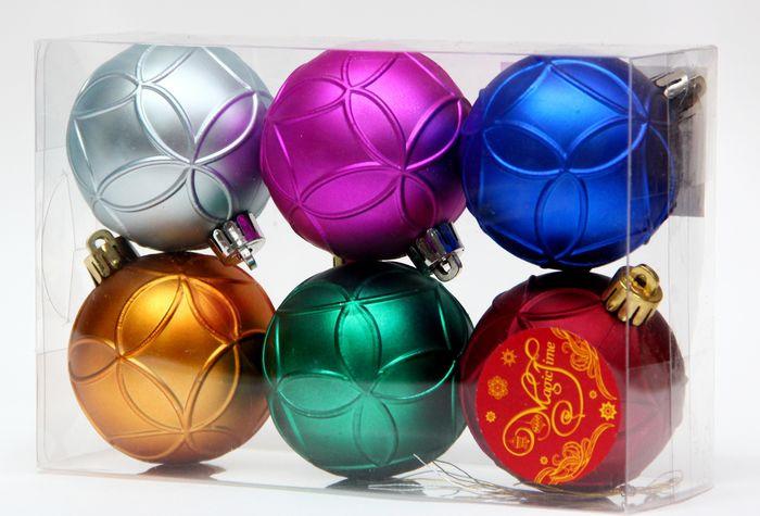 Новогоднее подвесное украшение Magic Time Ассорти. Шары разноцветное счастье, диаметр 6 см, 6 шт украшение сима ленд набор шаров звёзды и подарки 19шт 1400075