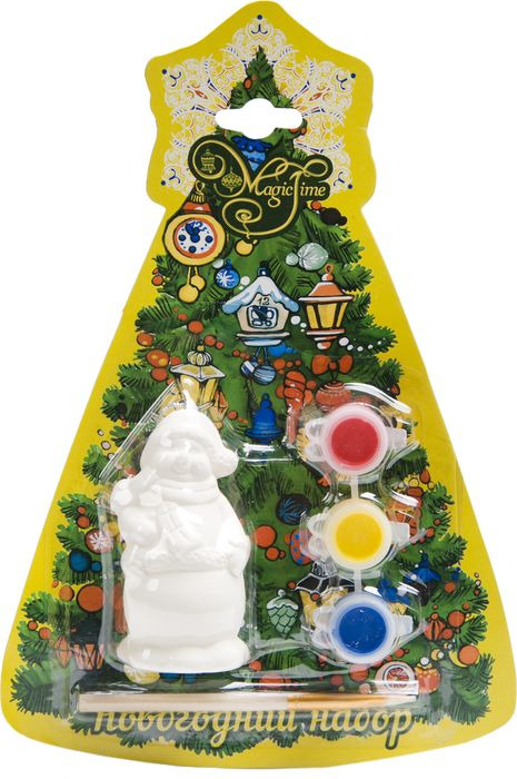 Новогодний набор для творчества Magic Time Снеговик. 7592975929Набор для детского творчества позволит вашему ребенку своими руками оригинально раскрасить елочную игрушку. В наборе вы найдете все необходимое: заготовку подарка, выполненную из доломитовой керамики, 3 акварельные краски ярких цветов и кисть. Раскрасьте подарок так, как подскажет ваша фантазия. К заготовке уже привязана прочная серебристая нить для подвешивания. Получившаяся игрушка станет превосходным украшением вашего интерьера или оригинальным подарком близким и друзьям. Новогодний набор для творчества СНЕГОВИК: новогоднее подвесное украшение из доломитовой керамики, 3 акварельные краски, кисть / 4х3.5х7.5 см арт.75929