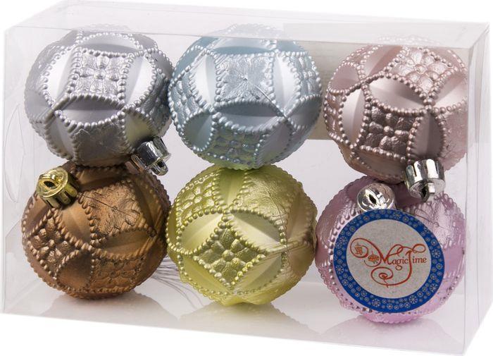 Новогоднее подвесное украшение Magic Time Ассорти шаров, диаметр 6 см, 6 шт magic time набор шаров розовый с серебряным узором 6 шт