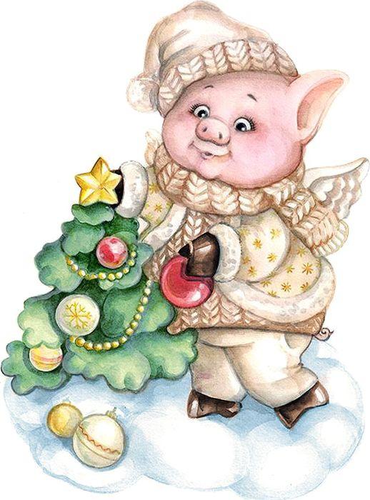 Декоративная фигурка Magic Time Свинка с елкой, 6 х 4 х 8 см декоративная фигурка magic time свинка с фонариком 6 х 4 х 8 см