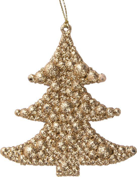 Новогоднее подвесное елочное украшение Magic Time Елочка в золоте, 9 x 9,5 x 0,9 см украшение новогоднее елочка заснеженная цвет красный 14 5 см 35691