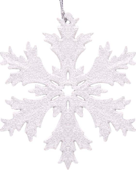 """Новогоднее подвесное елочное украшение Magic Time """"Снежинка в белом глиттере"""", 11,7 x 11,7 x 0,3 см"""