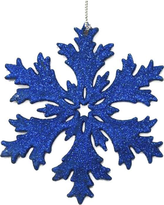 Новогоднее подвесное елочное украшение Magic Time Снежинка в синем глиттере, 11,7 x 11,7 x 0,3 см новогоднее подвесное украшение снежинка цвет золотистый 25102