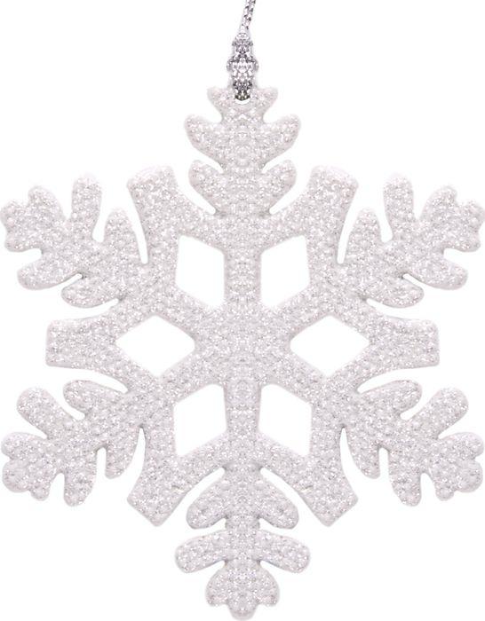 Новогоднее подвесное елочное украшение Magic Time Снежинка белая, 10 x 9 x 0,3 см новогоднее подвесное елочное украшение magic time бантик цвет золотой 9 х 9 х 1 см