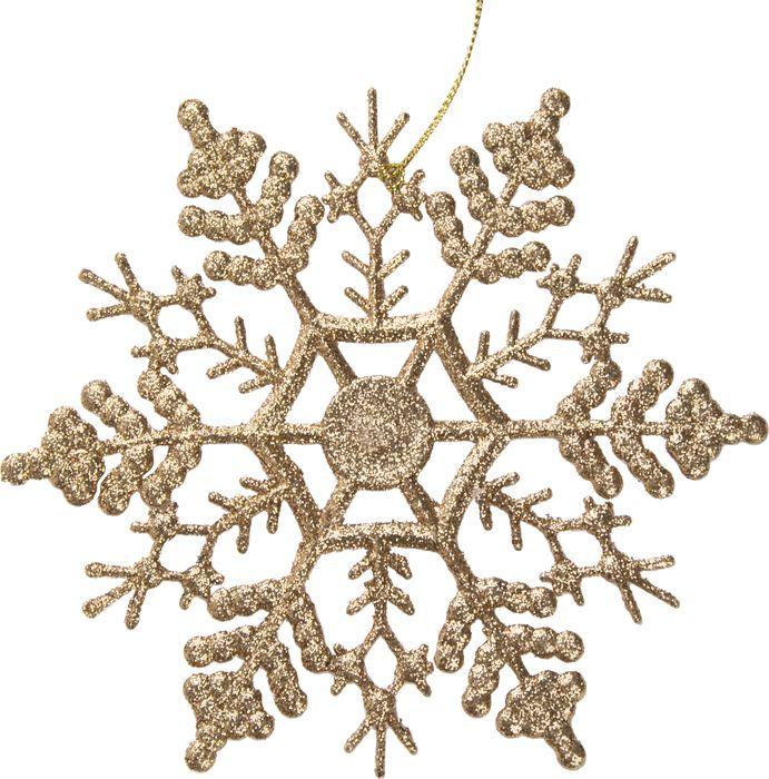 Новогоднее подвесное елочное украшение Magic Time Снежинка-паутинка золотая, 16,5 x 16,5 x 0,2 см новогоднее подвесное украшение снежинка цвет золотистый 25102