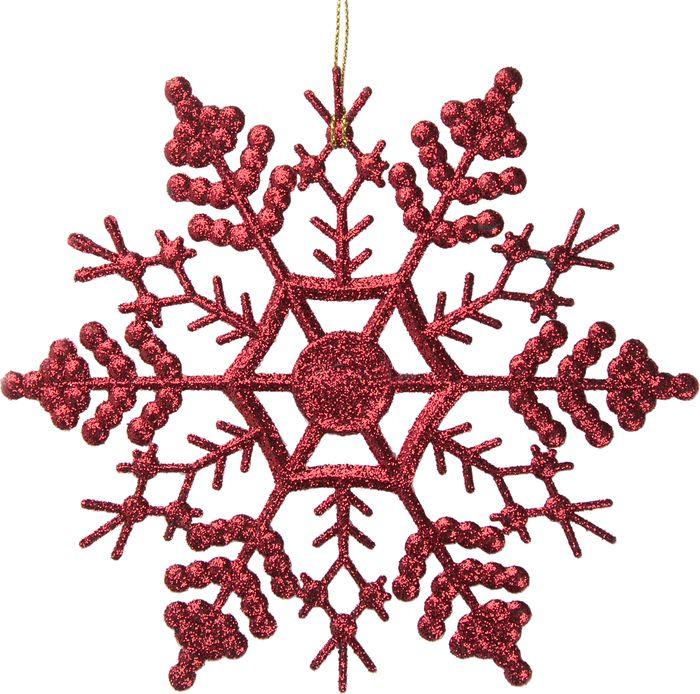Новогоднее подвесное елочное украшение Magic Time Снежинка-паутинка красная, 16,5 x 16,5 x 0,2 см