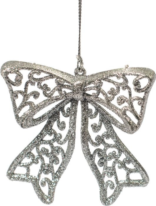 Новогоднее подвесное елочное украшение Magic Time Бантик, цвет: серебряный, 9 х 9 х 1 см новогоднее подвесное елочное украшение magic time бантик цвет золотой 9 х 9 х 1 см