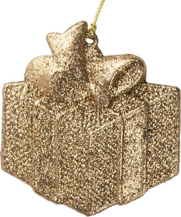 Новогоднее подвесное елочное украшение Magic Time Подарок, цвет: золотой, 8 x 8,5 x 0,2 см украшение елочное звезда барокко 8 8 см черный золотой 1 шт в пакете
