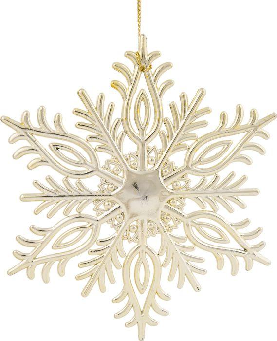 Новогоднее подвесное елочное украшение Magic Time Снежинка резная, цвет: золотой, 14,5 x 12,5 x 0,2 см новогоднее подвесное украшение снежинка цвет золотистый 25102