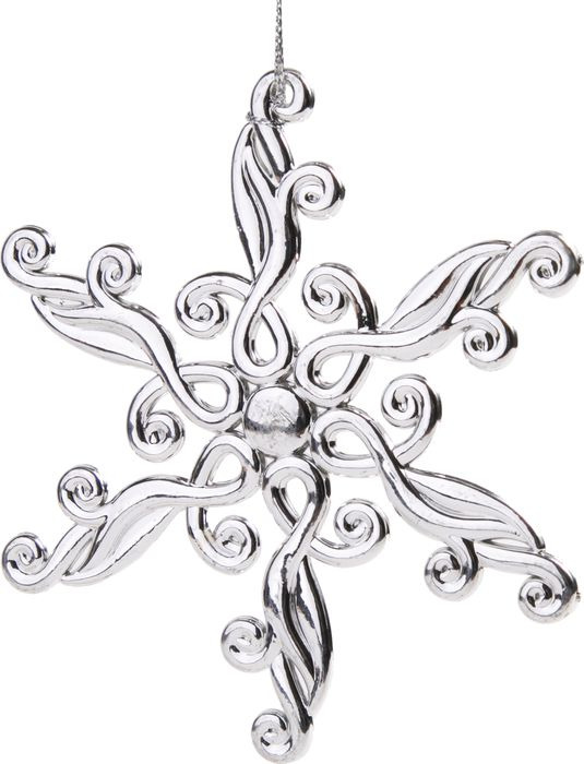 Новогоднее подвесное елочное украшение Magic Time Снежинка блестящая в серебре, 11,5 x 11,5 x 0,3 см украшение елочное подвеска блестящая крошка 2 шт в прозрачном пакете 8 см 4 цв белый красны